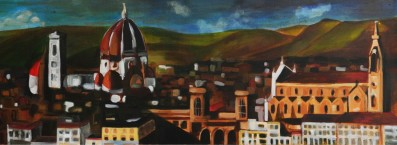 "Firenze, 12""x36"", oil on canvas"